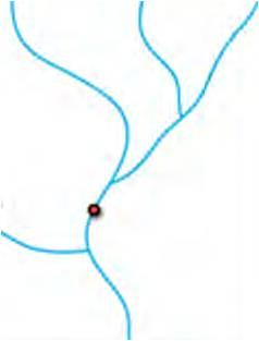 GIS illustration of stream with barrier