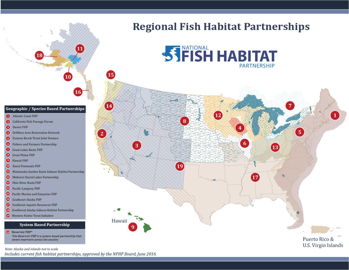 National Fish Habitat Partnerships Map