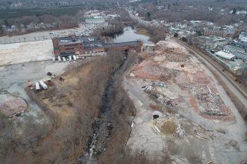 Aerial view of Monatiquot River restoration site